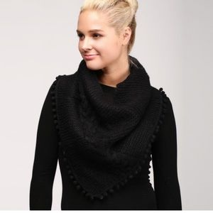 Solid Cable Knit Scarf Featuring Pom Pom Trim NWT